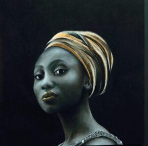 Afrikaanse vrouw, 35x35 cm, olieverf op paneel
