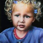 Lotte, portret tweejarige, 30x40 cm, olieverf op paneel